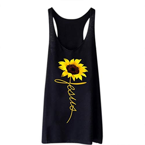 Price comparison product image Dressin Sunflower Tops Women's Print Tank Tops Funny Loose Casual Tees Teen Girls Beach Vest T Shirt Tunic Tees Black
