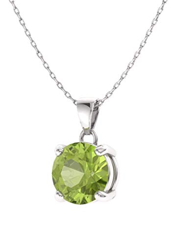 Diamondere Natural and Certified Gemstone Solitaire Petite Necklace in 14k White Gold 0.40 Carat Pendant with Chain