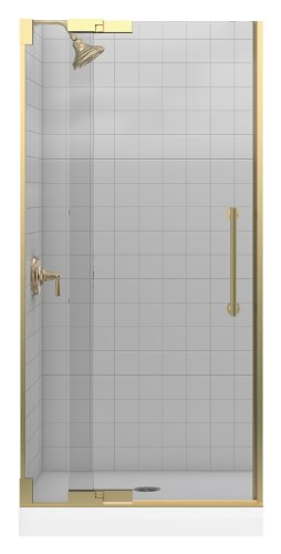 - Kohler K-705701-L-ABV Purist Heavy Glass Pivot Shower Door, 33-1/4