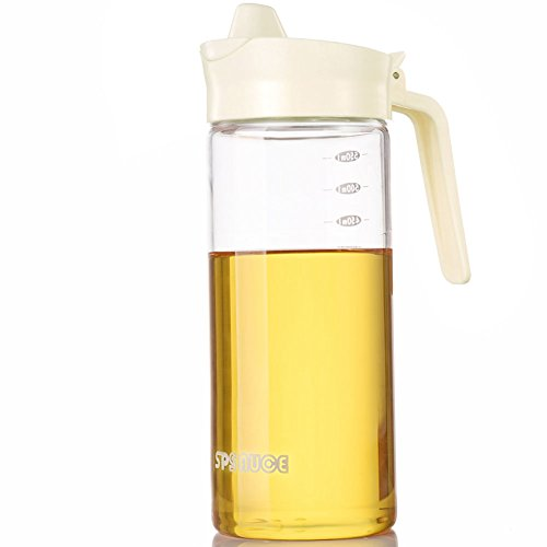 Drip Free Olive Oil Dispenser, Glass Salad Dressing Bottle, Vinegar Dispensing Cruets, Cooking Oil Condiment Containers with Measurement and Easy Pouring Spout for Kitchen by Marbrasse (Beige) by Marbrasse