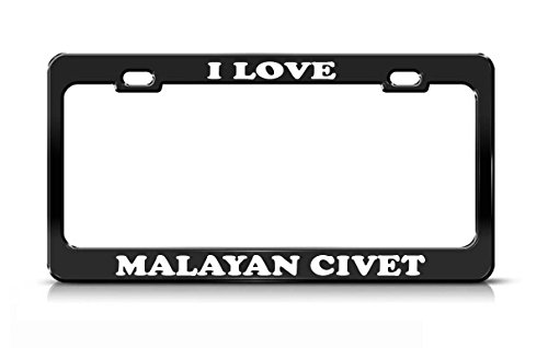 Nicholas Dunlop I LOVE MALAYAN CIVET Animal Lover Nature Black Metal license Plate (Civets Animals)