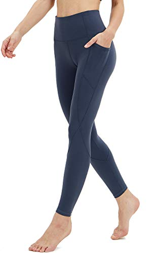 Persit Workout Leggings for Women with Pockets, Yoga Pants for Women High Waisted Athletic Gym Sport Yoga Leggings - Medium Blue - S