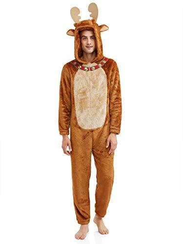 Men's Moose Faux Fur Christmas Pajama Union Suit