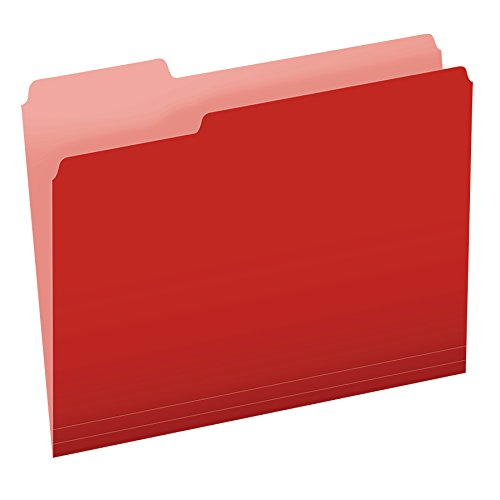 Pendaflex Two-Tone Color File Folders, Letter Size, Red, 1/3 Cut, 100 per box (152 1/3 RED)