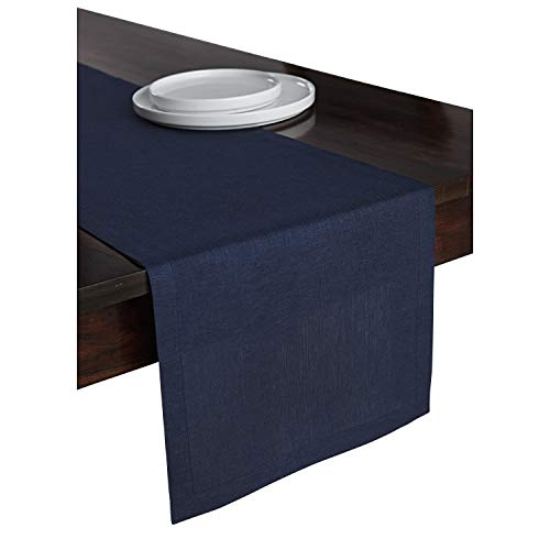 Solino Home 100% Pure Linen Table Runner – 14 x 48 Inch Athena, Handcrafted from European Flax, Natural Fabric Runner – Navy