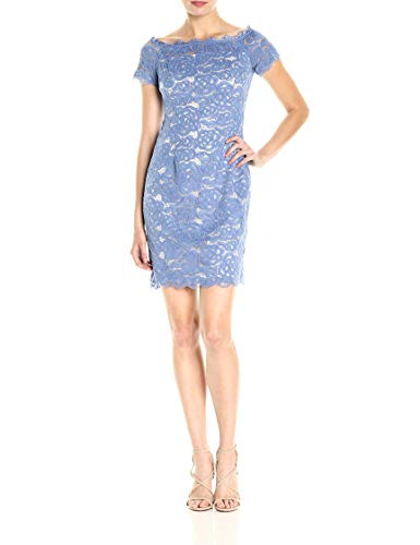 The Lace Adrianna with Dress Lining Sheath Papell Shoulder Almond Off Chilly Blue Contrast Women's twHBqXH