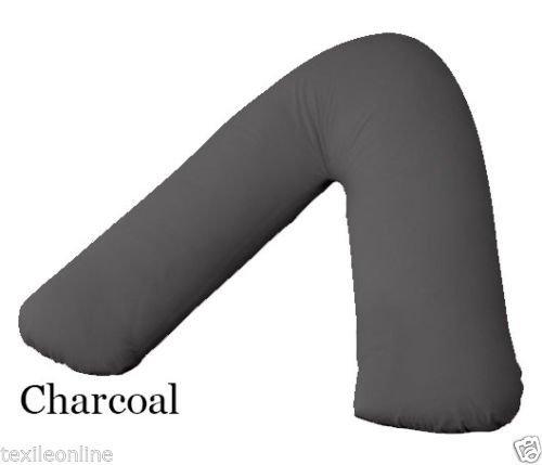 Textile Online Polycotton Back & Neck Support V Shaped Orthopaedic Nursing Pillow Case Charcoal