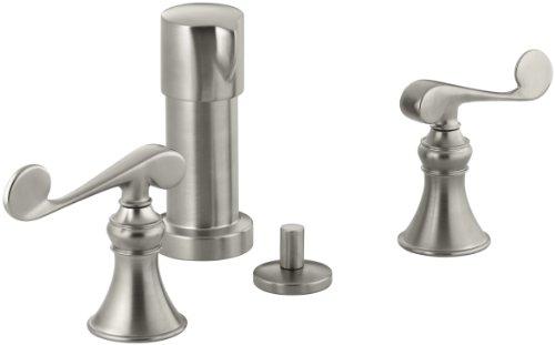 KOHLER K-16132-4-BN Revival Vertical Spray Bidet Faucet with Scroll Lever Handles, Vibrant Brushed Nickel (Spray Brass Vertical Bidet)