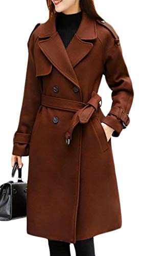 Pandapang Womens Wool Blend Belted Pea Coat Lapel Double Breasted Overcoat Camel S