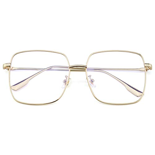 Mimoeye Oversized Blue Light Filter Glasses Metal Square Non-Prescription Eyeglasses for Computer Gaming Anti Eye Strain Headache for Women and Men