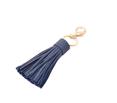 (ZOONAI Women Leather Tassel Keychain Car Keyring Holder Bag Wallet Purse Hanging Decorations (Blue))