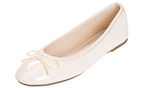 Feversole Women's Macaroon Colorful Memory Patent Ballet Flat (6, Beige) ()