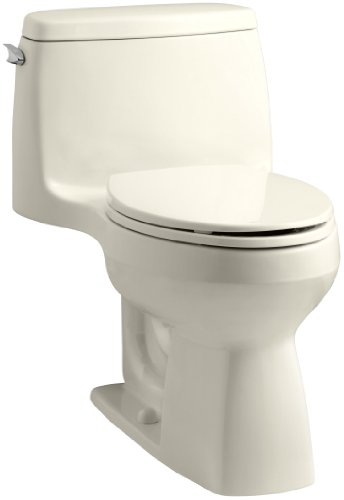 KOHLER 3810-47 Santa Rosa Comfort Height Elongated 1.28 GPF Toilet with AquaPiston Flush Technology and Left-Hand Trip Lever, Almond