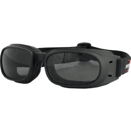 Adult Black Piston - Bobster Piston Adult Harley Motorcycle Goggles Eyewear - Black/Smoke / One Size Fits All