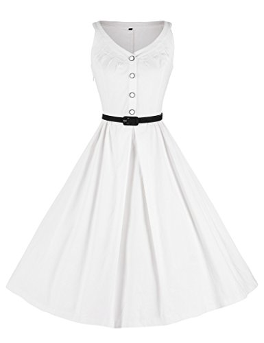 03c580107abf2b GownTown Womens 1950s Vintage Dress V-Neck Dresses Swing Stretchy Dresses