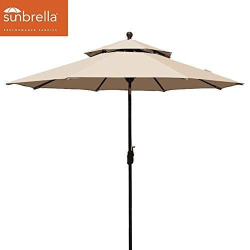 EliteShade Sunbrella 9Ft Market Umbrella Patio Outdoor Table Umbrella 2 Layers,Bouns Waterproof Umbrella Cover (Sunbrella Beige)