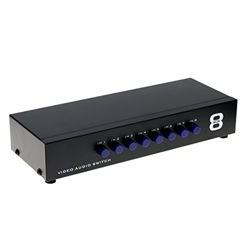 Optimal Shop 8-Way Composite Video Audio 3 RCA AV Switch Switcher Box Selector 8 In 1 Out 8x1