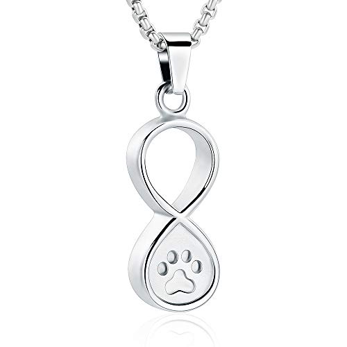 Oinsi Pet Paw Print Infinity Cremation Jewelry Dog/Cat Keepsake Pendant Memorial Urn Necklace for Ashes W/Filling Kits (Silver Tone)