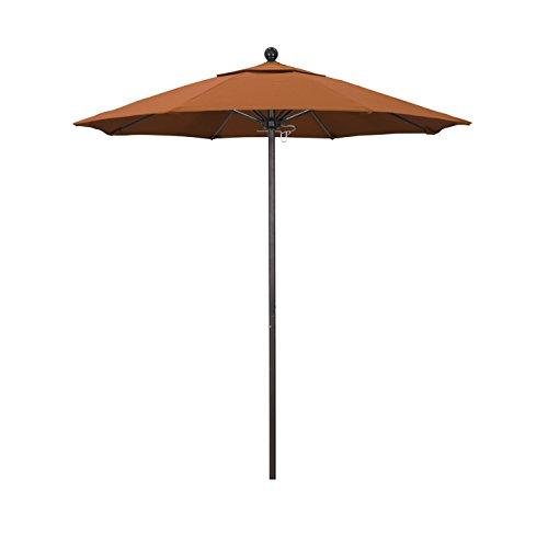 California Umbrella 7.5' Round Aluminum/Fiberglass Umbrella, Push Open, Bronze Pole, Sunbrella Tuscan Fabric