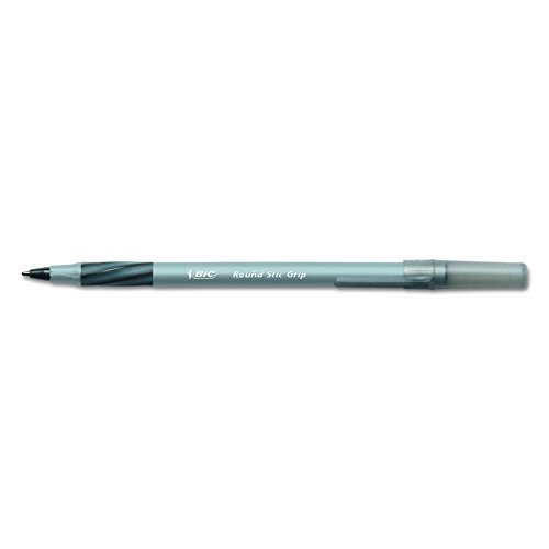 BIC Round Stic Grip Xtra Comfort Ballpoint Pen, Fine Point (0.8mm), Black, 12-Count ()