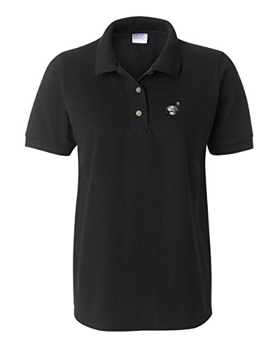 Speedy Pros Chef Set Utensil Embroidery Women Adult Button-End Spread Short Sleeve Cotton Polo Shirt Golf Shirt - Black, Large