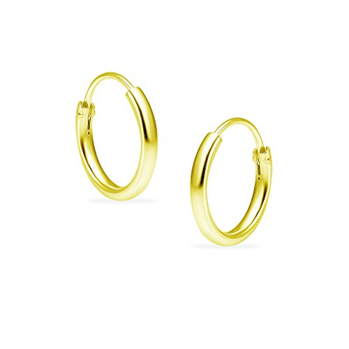 Sterling Silver Endless Hoop Earrings 10mm for Cartilage Nose Lips Yellow Gold Flashed