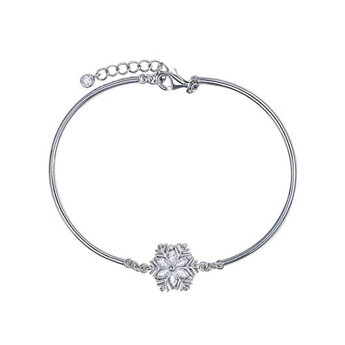 Carleen White Gold Plated 925 Sterling Silver Created Blue Sapphire/CZ Cubic Zirconia Snowflake Bangle Bracelet for Women Girls, 7