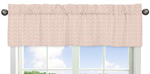 Sweet Jojo Designs Blush Pink and White Chevron Arrow Window Treatment Valance for Watercolor Elephant Safari Collection