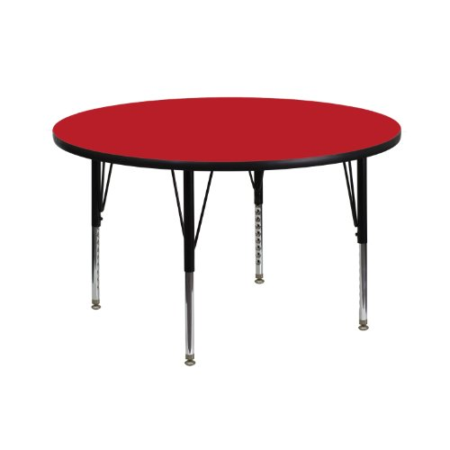 Flash Furniture 42'' Round Red HP Laminate Activity Table - Height Adjustable Short Legs