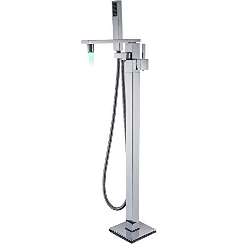 Floor Faucet Package - Senlesen Barthroom Tub Filler Faucet Floor Mounted Bathtub Shower Faucet LED Spout Free Standing Tub Mixer Tap with Handheld Sprayer Chrome Polished