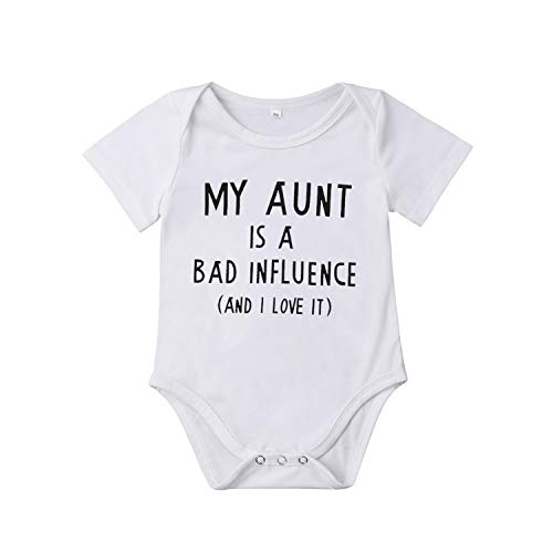 Jinbaolong Sale My Aunt Infant Newborn Baby Boy Girl Short Sleeve Letter Print Cotton Romper Jumpsuit Outfits Baby Clothes