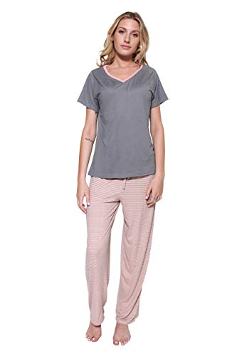 1 Pack:Womens Pajama Sets Ladies Short Sleeve V-Neck Tops Pants Bottoms Summer Clothes Sexy Silk Pijama PJ Sleepwear Lounge Night Bamboo Essentials,Orange Stripes-XXL