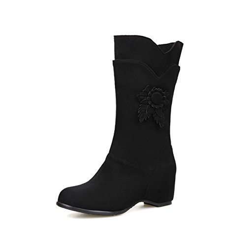 Allhqfashion Women's Frosted Pull-on Round Closed Toe Kitten-Heels Mid-top Boots Black