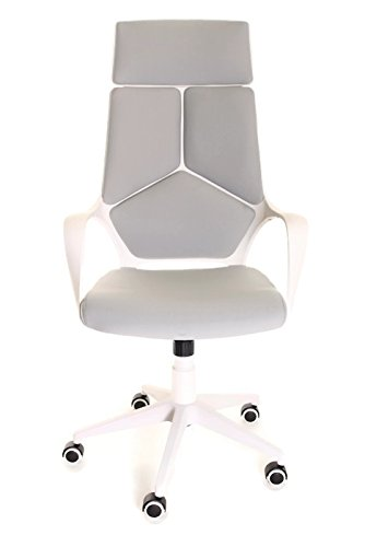 TimeOffice Ergonomic Office Chair with Armrest And Matt White Color Frame–Grey (Elegant Office Chairs)