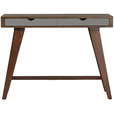 Euro Style Daniel Dark Walnut Stained Ash Veneer Console Table With Sawhorse Style Base