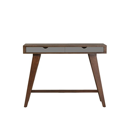 Euro Style Daniel Dark Walnut-Stained Ash Veneer Console Table with Sawhorse Style Base