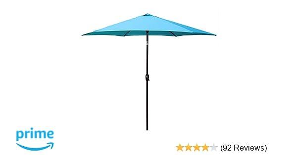 025c554855 Le Papillon 9 ft Outdoor Patio Umbrella Aluminum Table Market Umbrella 6  Ribs Crank Lift Push Button Tilt, Blue