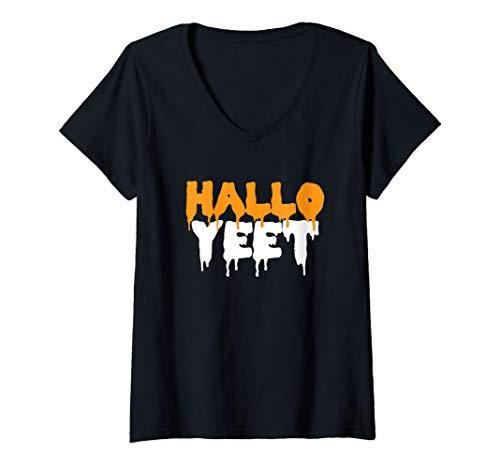 Halloween Pun Meme (Womens HalloYeet Funny Halloween Meme Pun V-Neck)