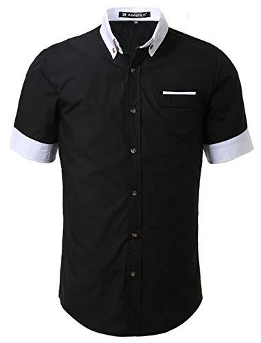 Allegra K Men Contrast Color Short Sleeves Buttoned Shirt Black XL US 46