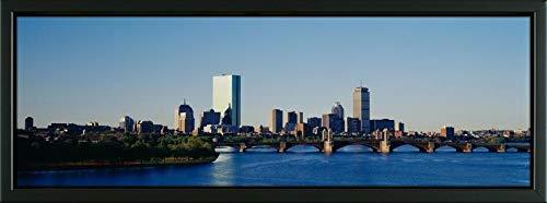 Easy Art Prints Panoramic Images's 'Longfellow Bridge Across a River, Back Bay Area, Boston, Massachusetts, USA' Premium Framed Canvas Art - 36