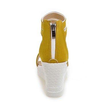 Enochx sandali da donna estate Club similpelle scarpe casual zeppa cerniera, giallo, us6.5–7/EU37/uk4.5–5/CN37