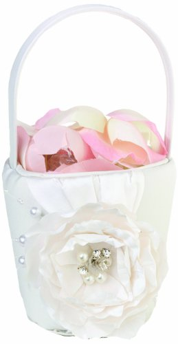 Lillian Rose Vintage White Rose Wedding Flower Girl Basket