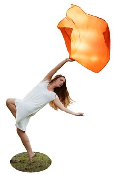 Orange Swing Flag: Poly China Silk with Weighted Edge | Perfect for Dance and Praise by Joya Flags - Joya Ca La