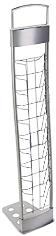 Portable Silver Floor Literature Rack Features 10 Pockets for Freestanding Displays and Carrying - Pocket Literature Floor Display