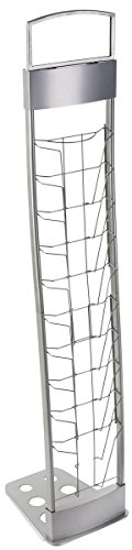 Portable Silver Floor Literature Rack Features 10 Pockets for Freestanding Displays and Carrying Case by Displays2go