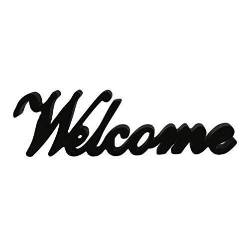 CVHOMEDECO. Matt Black Wooden Words Sign Free Standing Welcome Desk/Table/Shelf/Home Wall/Office Decoration Art, 14-1/2
