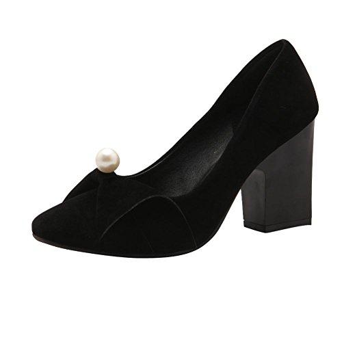 Mee Shoes Charm Nubuck High-heel Block-heel Bows Upper Beaded Court Shoes Black esxcUV