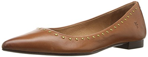 FRYE Women's Sienna Micro Stud Ballet Flat, Saddle Polished Soft Full Grain, 7 M US ()