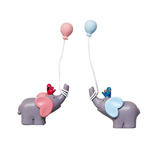 Elephant Cake Topper (Sunormi 1 Pair Blue & Pink Elephant With Balloons Cake Toppers For Baby Shower Girls Boys Kids Birthday Cake)