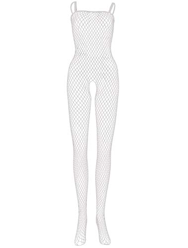 LEMON GIRL Women's Fishnet Bodystocking Lingerie Sling High Elasticity Stocking Bodysuit White - Girls White Fishnet